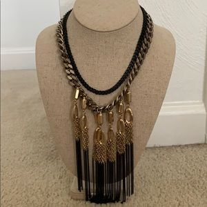 Stella & Dot black gold and black fringe necklace